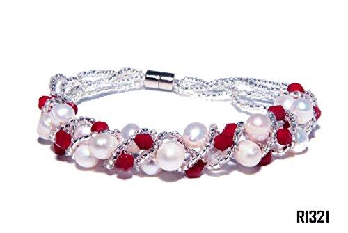 Enez Echt Suesswasser Zucht Perlenkette Armband Armkette 180mm Magnetverschluss R1321