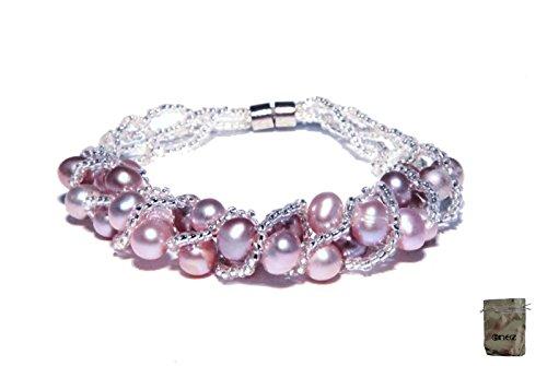 Original Enez Echt Suesswasser Zucht Perlenkette Armband Armkette 19cm Magnetverschluss R1290 Geschenkbeutel