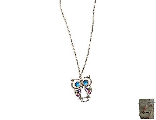 Original Enez XXL Damen Kette Halskette Blogger Necklace Spike Choker Collier Eule 75cm R614a