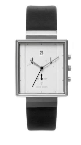 Jacob Jensen Herren-Armbanduhr Rectangular Chronograph Series 806 Chronograph Leder Schwarz 806