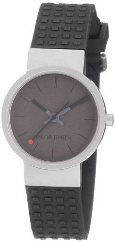 Jacob Jensen Damen Armbanduhr Clear Series 421 Analog Gummi Grau 421