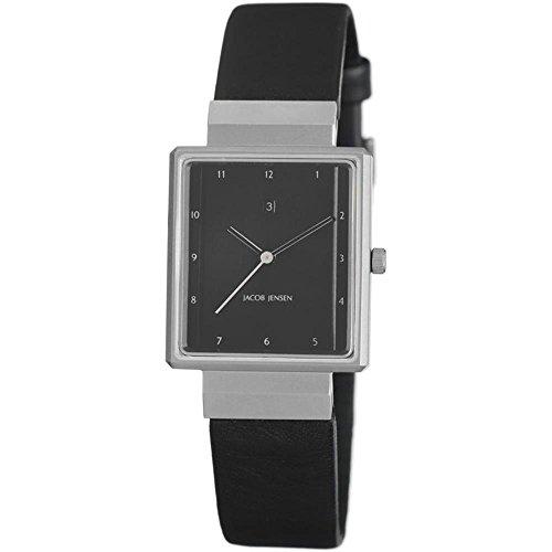 Jacob Jensen Damen Armbanduhr Armband Leder Schwarz Gehaeuse Edelstahl Saphirglas Batterie Analog 875