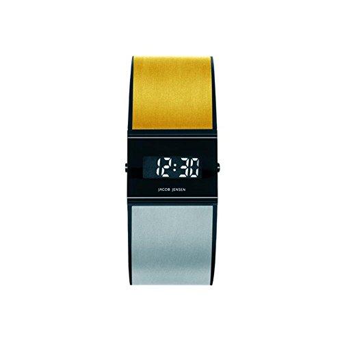 Jacob Jensen Titanium Herren Armbanduhr Armband Edelstahl Zwei Ton Gehaeuse Titan Saphirglas Batterie 533