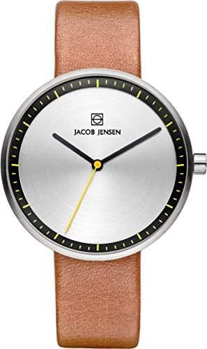 Jacob Jensen Damen Armbanduhr mit Silber Zifferblatt Analog-Anzeige und braunem Lederband 281