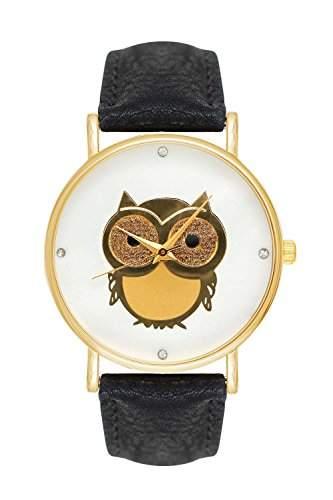 Damenuhr Eule Eulemotiv Owl Armbanduhr Uhr Farbe: Schwarz  Gold Blogger Boho Hippie Hipster Trend Rosen Blume Damen Basel-Stil Rosenmuster Blumenmuster Rose Rosegold Anker Streifen