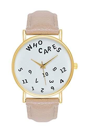 Uhr Who Cares Note Schriftzug Schrift Armbanduhr Farbe: Beige  Gold Blogger Boho Hippie Hipster Trend Rosen Blume Damen Basel-Stil Rosenmuster Blumenmuster Rose Rosegold Anker Streifen