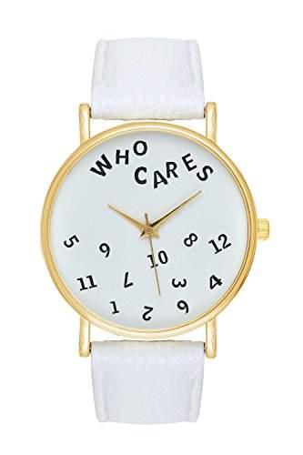 Uhr Who Cares Note Schriftzug Schrift Armbanduhr Farbe: Weiss  Gold Blogger Boho Hippie Hipster Trend Rosen Blume Damen Basel-Stil Rosenmuster Blumenmuster Rose Rosegold Anker Streifen