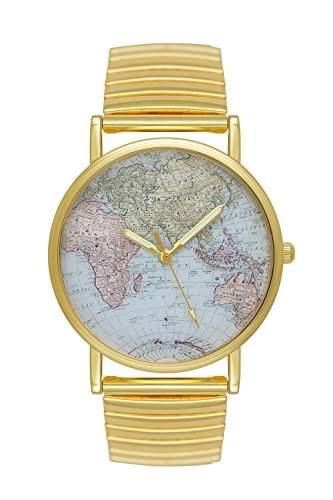 Uhr Damenuhr Weltkarte Landkarte Globus World Map Armbanduhr Farbe: Gold Blogger Boho Hippie Hipster Trend Rosen Blume Damen Basel-Stil Rosenmuster Blumenmuster Rose Rosegold Anker Streifen
