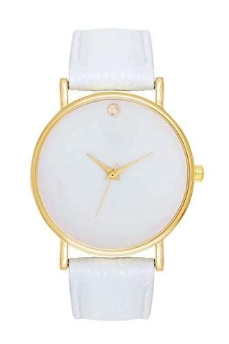 Schlichte Damenuhr Gold Weiss Weiss Armbanduhr Blogger Uhr Trend Damenuhr Designer Bloggeruhr Swag Mingbo Dalas