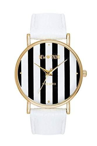 Damenuhr New Trend Platinum Streifen Streifenmuster Farbe Gold Schwarz Weiss Armbanduhr Blogger Uhr Anker Weltkarte Rosen Damenuhr Designer