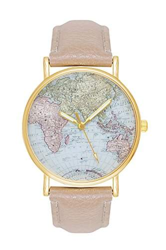 Damenuhr Weltkarte Uhr Globus Karte World Map Farbe: Beige Creme Gold Damen Armbanduhr Blogger Bloggeruhr Mingbo Armband Hipster Trend Welt Karte Mingbouhr Rosen Blumen Rosegold Rose Quarzuhr Quarz