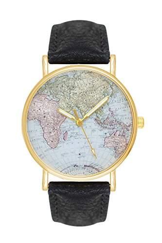 Damenuhr Weltkarte Uhr Globus Karte World Map Farbe: Schwarz Gold Damen Armbanduhr Blogger Bloggeruhr Mingbo Armband Hipster Trend Welt Karte Mingbouhr Rosen Blumen Rosegold Rose Quarzuhr Quarz