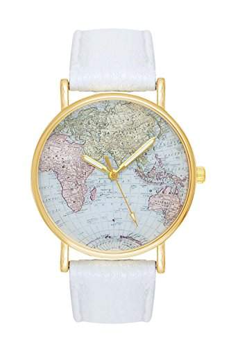 Damenuhr Weltkarte Uhr Globus Karte World Map Farbe: Weiss Gold Damen Armbanduhr Blogger Bloggeruhr Mingbo Armband Hipster Trend Welt Karte Mingbouhr Rosen Blumen Rosegold Rose Quarzuhr Quarz