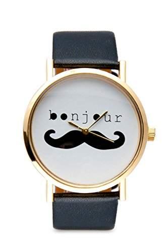 Uhr Moustache Bonjour Schwarz Mustache Bart Schnurrbart Armbanduhr Mingbo Dalas Bloggeruhr Retro Watch Damenuhr