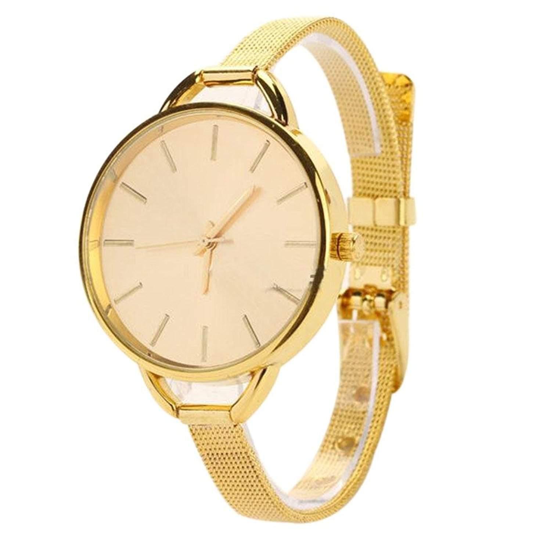 Frauen Golden Edelstahl Band Quarz Analog Armbanduhr Uhren Gut Geschenk