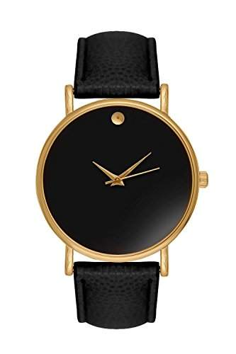 Fashion Elegant Women Rose Gold Dial Leather Wrist Watch Quartz Dress Match Watches - Black