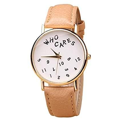 Who Cares Damen Armbanduhr FUN Scherzartikel Vintage Hipster Analog Quarz gold  weiss  beige lw111