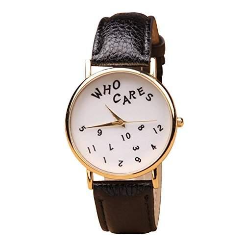 Who Cares Unisex Armbanduhr FUN Scherzartikel Vintage Hipster Analog Quarz gold  weiss  schwarz lw111