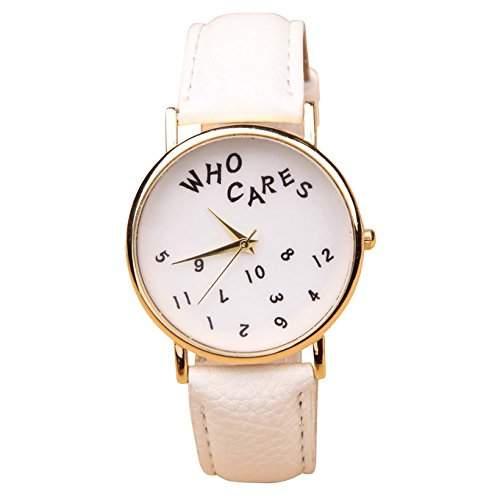 Who Cares Unisex Armbanduhr FUN Scherzartikel Vintage Hipster Analog Quarz gold  weiss lw111