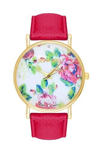MOFY Frauen Blumenmuster runden Zifferblatt Quarz Analog PU-Band-Armbanduhr farbig sortiert , red