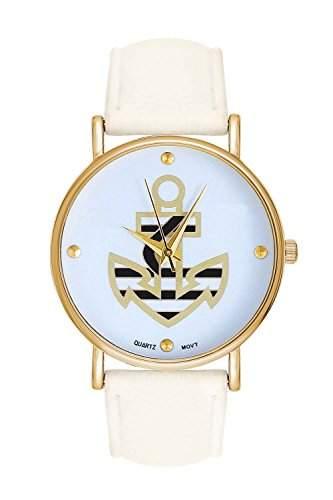 Damenuhr Statement Anker Gold Weiss Armbanduhr Blogger Uhr Blumen Rosen Trend Damenuhr Designer Matrosenuhr Matrosenstreifen Matrose Maritm Ankerarmband Armband