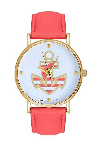 Damenuhr Statement Anker Gold Corall Armbanduhr Blumen Rosen Blogger Uhr Trend Damenuhr Designer