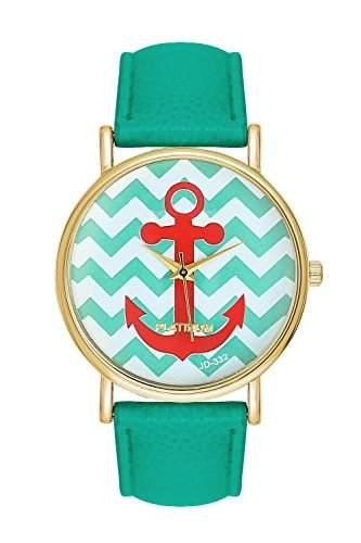 Damenuhr Streifen Mintfarben Streifenmuster Anker Gold Mint Armbanduhr Blogger Uhr Trend Rosen Damenuhr Designer