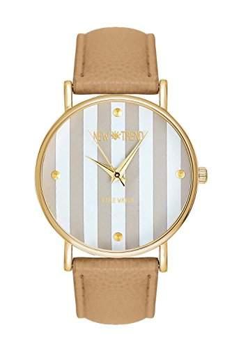 Damenuhr New Trend Platinum Streifen Creme Cremefarben Beigefarben Streifenmuster Anker Gold Beige Armbanduhr Blogger Uhr Trend Rosen Damenuhr Designer