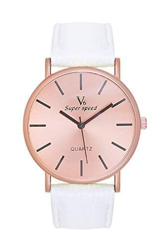 Edle, schlichte Armbanduhr Damenuhr Uhr Rosegold Rose Gold Lederarmband Weiss Weiss Blogger Mingbo