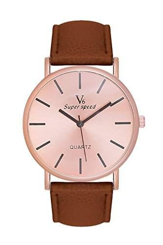 Edle, schlichte Armbanduhr Damenuhr Uhr Rosegold Rose Gold Lederarmband Braun Blogger Mingbo