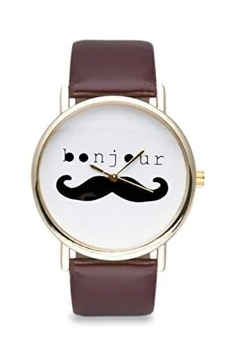Uhr Moustache Bonjour Braun Gold Mustache Bart Schnurrbart Armbanduhr Damenuhr Bloggeruhr Retro Watch