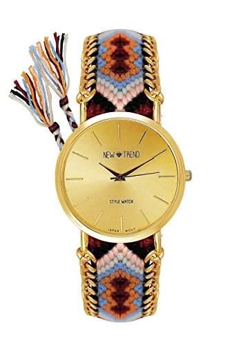 Damenuhr Geflochten Armband Armbanduhr Bloggeruhr Trenduhr Edelstahl Uhr Designer Farbe: Braun  Orange  Gold Style: Hippie Boho Festival Beach Boho Anker Weltkarte Feder Freundschaftsarmband
