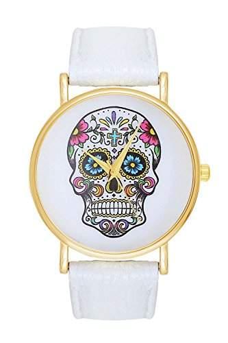 Damenuhr Sugar Candy Skull Tattoo Totenschaedel Schaedel Ghost Head Armbanduhr Pirat Skulls Totenkopf - White Weiss Weiss Gold