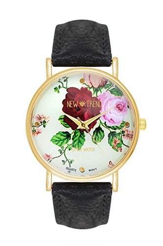 Damenuhr Armbanduhr Rosen Rosenmuster Blumen Uhr Blumenmuster Bluemchen Bluemchenmuster Floral Streifen Streifenmuster Hipster Nerd Trend