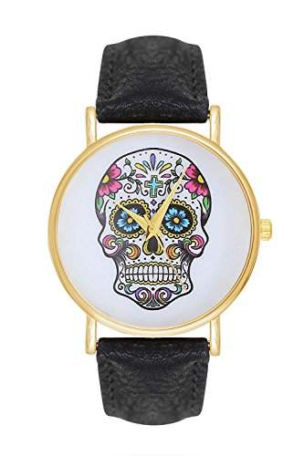 Damenuhr Candy Sugar Skull Tattoo Totenschaedel Schaedel Ghost Head Watch Damen Uhr Armbanduhr Pirat Skulls Totenkopf Anker Quarz - Schwarz Gold