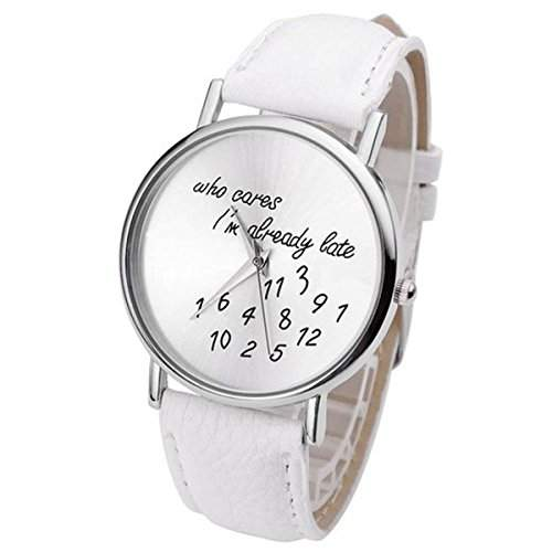 "Thalia "" Who cares Im late anyway "" Numbers Watch Mode Nummern Damen Armbanduhr Analog Quarz Lederband Damenuhr Weiss  Splitter White"