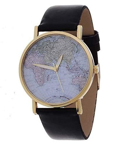 Damen Armbanduhr Weltkarte Analog Quarz schwarz  gold u00002