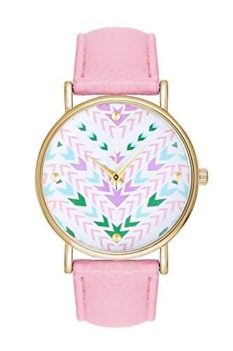 Aztec Stil Unisex Frauen Maenner geometrisches Muster Zifferblatt Armbanduhr Liebhaber Geschenk Damenuhr Herrenuhr Lederuhr Quarzuhr pink