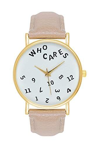 Unisex Frauen Maenner Who Cares Zahlen Zifferblatt Armbanduhr Liebhaber Geschenk Damenuhr Herrenuhr Lederuhr Quarzuhr hellbraun