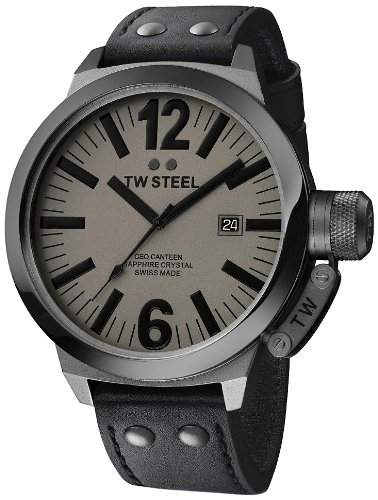TW Steel Herren-Armbanduhr XL Canteen Swiss Made Analog Quarz Leder CE1051
