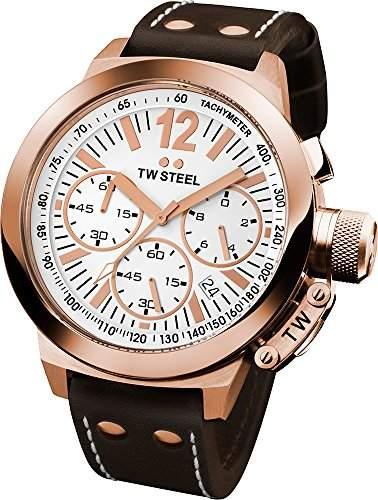 TW Steel Unisex-Armbanduhr Chronograph leder braun CE1019