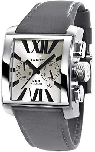 TW Steel Unisex-Armbanduhr Chronograph Leder grau CE3003