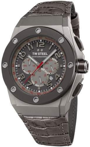 TW Steel Unisex-Armbanduhr Chronograph leder grau CE4002