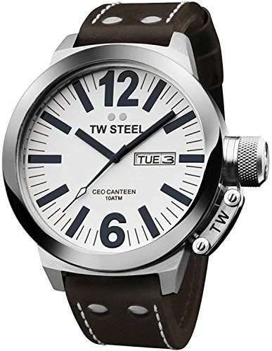 TW Steel Herren-Armbanduhr XL CEO Canteen Kollektion Analog Leder TWCE1006
