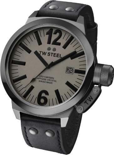 TW Steel Herren-Armbanduhr XL CEO Swiss Edition Analog Quarz Leder TWCE1052