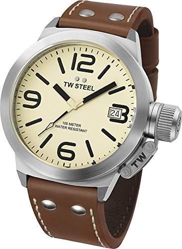 TW Steel Unisex-Armbanduhr Analog Quarz Leder TW1