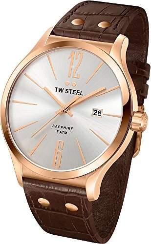 TW Steel Unisex-Armbanduhr Slim Line Analog Quarz Leder TW-1304