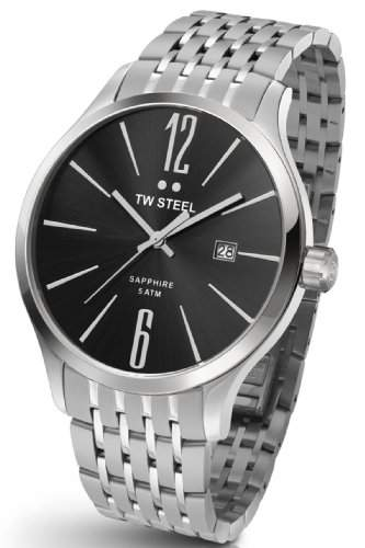 TW Steel Herren-Quarzuhr mit schwarzem Zifferblatt Analog-Anzeige und Silber Edelstahl Armband tw1306