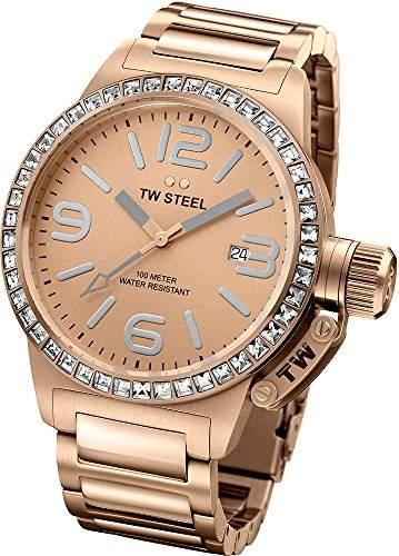TW Steel Unisex Armbanduhr Canteen Rose-Gold Zifferblatt Analog-Anzeige und Rosé Gold Edelstahl Armband TW305