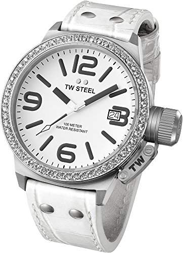 TW Steel Damen-Armbanduhr XL Canteen Analog Quarz Leder TW35